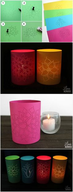 Tea light covers, designs created with holes in paper.  Would be great if they were placed together for a landscape