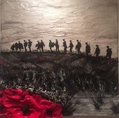 """Where Tommies Go, The Poppies Grow"" by Jacqueline Hurley WW1 Remembrance Day Painting British Soldiers from The War Poppy Collection 1914-1918"