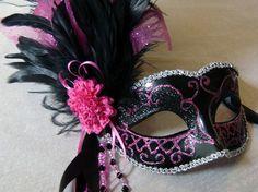 Hot Pink and Black Venetian Mask  Custom Made by BridalBijou, $65.00