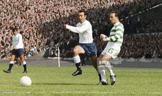 Spurs striker Jimmy Greaves challenges John Clark of Celtic during a friendly match at Hampden Park between Tottenham Hotspur and Celtic on August 1967 in Glasgow, Scotland Get premium, high resolution news photos at Getty Images Jimmy Greaves, Tottenham Hotspur Players, Bobby Moore, Hampden Park, Bristol Rovers, John Clark, Celtic Fc, Everton Fc, School Football