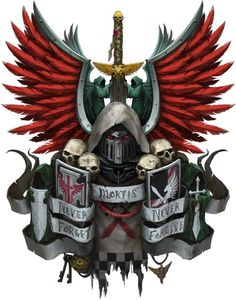Dark Angels coat of arms. Warhammer Dark Angels, Dark Angels 40k, Warhammer 40k Art, Warhammer 40k Miniatures, Larp, Angel Artwork, Angels Logo, Dark Eldar, Knight Art