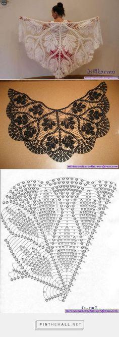 Ideas Crochet Shawl Pattern Diagram Ganchillo For 2019 Crochet Diy, Filet Crochet, Art Au Crochet, Poncho Au Crochet, Pull Crochet, Mode Crochet, Crochet Shawls And Wraps, Crochet Motifs, Crochet Scarves