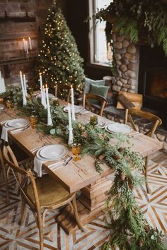 """Fresh Pine Rustic Getaway Winter Wedding - - Say """"I do"""" in the Canadian Rocky Mountains with this pine infused style! Farmhouse Christmas Decor, Christmas Table Decorations, Decoration Table, Holiday Decor, Christmas Tablescapes, Cabin Christmas Decor, Christmas Dining Table, Cottage Christmas, Christmas Mantels"""