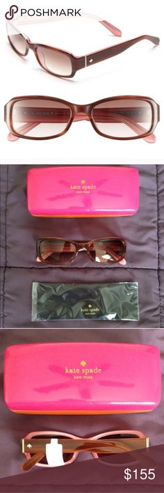 NWT Kate Spade Adley 53mm Sunglasses Brand new, sleek, angular sunglasses with glossy acetate frames. Features cite spade detail on left temple. 53mm lens width, 17mm bridge width, 135mm temple length. 100% UV protection. Acetate. Case and cleaning cloth included. *Black pair shown in last photo to show fit.* Price is firm. No trades. kate spade Accessories Sunglasses