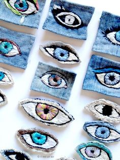 il est un air: Yeux Modern Embroidery, Diy Embroidery, Cross Stitch Embroidery, Embroidery Designs, Textiles, Diy Broderie, Fabric Jewelry, Fabric Art, Textile Art