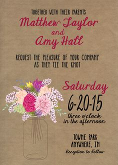 Cherry Mason Jar Invitations http://www.yellowumbrellapaper.co/product/mason-jar-invitations/