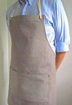 Denim Apron - Softer coloured shirt, Check, Stripe or pastel for seasonal freshness Staff Uniforms, Work Uniforms, Bartender Uniform, Chef Dress, Restaurant Uniforms, Shop Apron, Work Aprons, Leather Apron, Aprons For Men