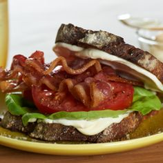 Classic BLT Recipe with hellmann' or best food real mayonnais, whole wheat bread, lettuce, tomatoes, bacon Blt Recipes, Raw Food Recipes, Great Recipes, Cooking Recipes, What's Cooking, Sandwich Recipes, Delicious Recipes, Recipe Ideas, Favorite Recipes