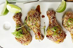 Sticky Honey Sesame Drumsticks from Canadian Living Magazine All Recipes Chicken, Turkey Recipes, Paleo Recipes, Canadian Living Recipes, Drumstick Recipes, Rosemary Chicken, Grilling Recipes, Food Inspiration, Kids Meals