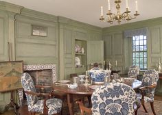 Nest by Tamara: Nest by Tamara's WHY IN DESIGN column: the value and history of using toile fabrics in a home Winterthur, Charlie Harper, Raised Panel Walls, Dining Chair Makeover, British Colonial Style, Dining Room Chairs, Dining Rooms, Kitchen Dining, Elegant Dining