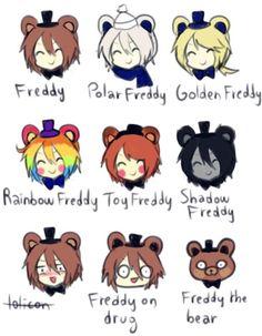 Freddy. Freddy polar. Freddy dorado. Freddy arcoiris. Freddy de juguete. Freddy…