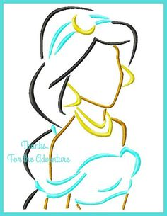 Princess Jasmine from Aladdin Sketch Digital Embroidery Machine Applique Design File 4x4 5x7 6x10 by Thanks4TheAdventure on Etsy