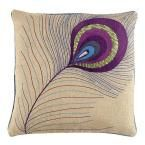 Peacock Feather 18 in. Square Natural Burlap Pillow