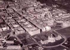#Pamplona #Navarra. Vista aérea del II Ensanche de Pamplona hacia 1950.