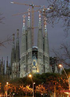 La Sagrada Família, with the construction still in progress since 1884, a monumetal Roman Catholic church in Barcelona. The symbol of the city nowadays.by Antoni Gaudi