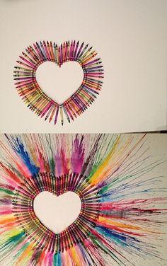 Crayon heart art before and after- Click picture to get to the tutorial!