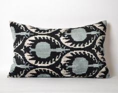 Black Velvet Ikat Pillow Cover 15x23 Soft Handwoven by pillowme