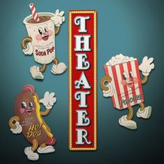 Image detail for -Retro Movie Theater Snack Signs - Theater Wall Decor - Home Decorating ...