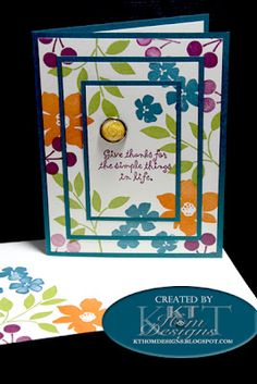 My Triple Time Stamping Card-lucky limeade, indigo island, pumpkin pie & rich razzleberry using Best Blossoms