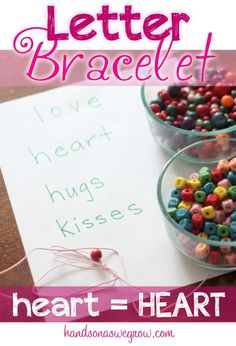 Learn letters by matching Upper and Lowercase Letters to  make a bracelet for Valentine's Day