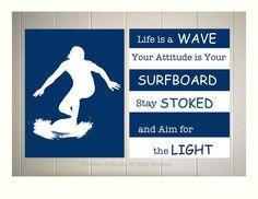 Boys surf art, college dorm room art, teen boy art, surfer poster, surfing, inspirational surf quotes, inspirational art for boys
