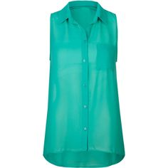 FULL TILT Essential Button Front Chiffon Womens Shirt (40 BRL) ❤ liked on Polyvore featuring tops, shirts, blouses, tank tops, green, green top, green chiffon top, sheer top, see through tops and shirts & tops
