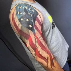 Half Sleeve Waving American Flag Patriotic Guys White Ink Tattoos