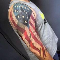 Half Sleeve Waving American Flag Patriotic Guys White Ink Tattoos