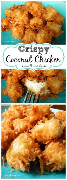 Chicken Recipes - Delicious Crispy Coconut Chicken Recipe via Num's The Word - our Family LOVES this with PIna Colada Dipping Sauce! #chickenrecipes #popularchickenrecipes #chicken #easychickenrecipes #chickenbreastrecipes #easylunches #easydinners