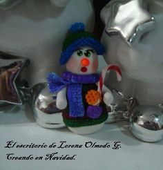 Snow man polymer clay. Magnet for christmas.