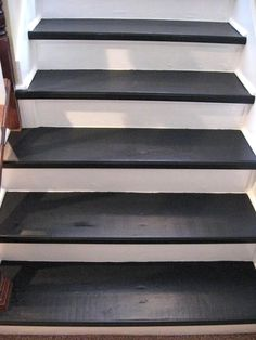 black staircase ideas | ripping carpet off stairs and painting | Southern Hospitality