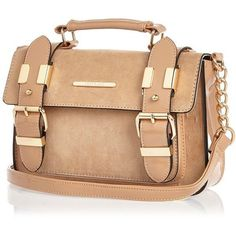River Island Beige faux-suede mini satchel handbag ($44) ❤ liked on Polyvore featuring bags, handbags, bags / purses, beige, satchels, women, imitation purses, long strap purse, satchel bags and handle satchel