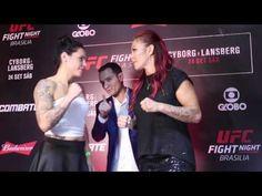 Cristiane Justino vs Lina Lansberg Face-off UFC fight night 95 media day in Brasilia