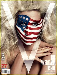 Ke$ha shows off her patriotic side on the cover of V Magazine's Americana Issue #77 on sale May 10, 2012