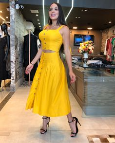 Yellow Dress Shop Now Dress Outfits, Casual Outfits, Fashion Dresses, Cute Summer Outfits, Summer Dresses For Women, Summer Clothes, Western Dresses, Mellow Yellow, Casual Elegance