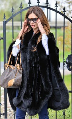 New Black Mink Fur Poncho Fox Class Sable Chinchilla Coat Jacket Vest Cape Saga | eBay