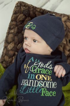 Newborn Baby Gown, Navy Infant Boy Gown, All of God's Grace In One Handsom Face…