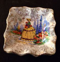 Crinoline Lady Beautiful Vintage Butter Trays by JewelzVintage, $30.00