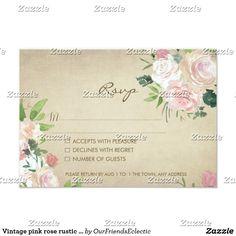 Vintage pink rose rustic wedding rsvp reply card