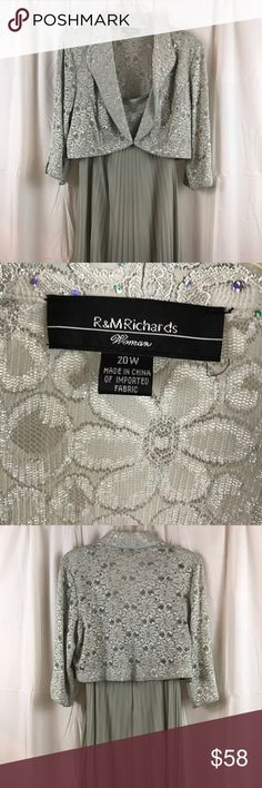 """R & M Richards Woman 2pc Sequined Jacket Dress Mother of the Bride or party dress either way you will look gorgeous in this dress. Size 20W this 2 pic jacket dress measures 22"""" across the back, is 47"""" from shoulder to hem. Jacket is 18"""" in length. Dress has 2"""" straps with Sequined bodess. High waist with chiffon feel pleated skirt lined.  Beautiful addition to your wardrobe. R&M Richards Woman Dresses Midi"""