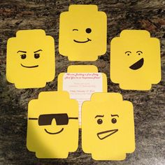 Handmade Lego minifigure party invite for my daughter's birthday. RS