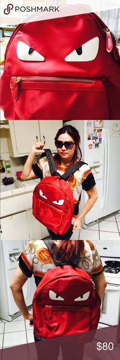 Red Monster Backpack Monster backpack red color good condition for school tour laptop book etc NWOT No Bags Backpacks