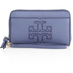 Tory Burch Harper Leather Smartphone Wrislet ($123) ❤ liked on Polyvore featuring bags, wallis blue, blue leather bag, leather bags, hardware bag, blue bag and genuine leather bag