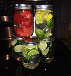 Fruit and cucumber infused water in Mason jars. Like us on Facebook at: www.facebook.com/GlutenFreeLivingMB