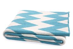 Zigzag Throw, Cerulean  HAPPY HABITAT