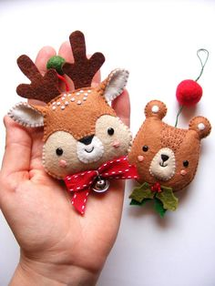 Felt PDF sewing pattern - Bear and Deer ornaments - Christmas decoration, easy sewing pattern, DIY, festive holiday decor, Christmas tree Easy Christmas Decorations, Felt Decorations, Felt Christmas Ornaments, Noel Christmas, Holiday Crafts, Xmas, Holiday Decor, Deer Ornament, Easy Sewing Patterns