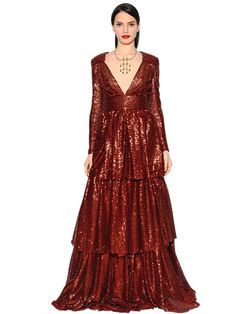 INGIE Ruffled & Sequined Long Dress, Red/Brown. #ingie #cloth #dresses