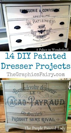 14 DIY Painted Dresser Projects - Graphics Fairy. DIY Vintage Transferred Furniture Projects. I love these DIY Home Decor projects! These Dressers were transformed with paint and image transfers. Great French Farmhouse or Shabby and Chic style look!