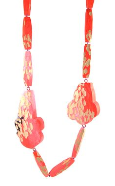 Lina Peterson Necklace: Carved in pinks, 2014 Wood, paint, silver