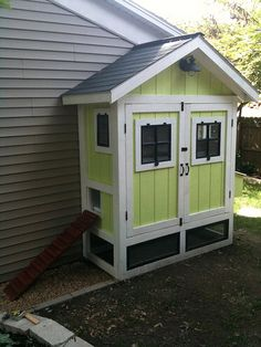 Image from http://cf.remodelaholic.com/wp-content/uploads/2015/05/Backyard-Chickens-two-door-chicken-coop-alongside-house.jpg.